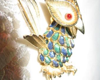 Owl Enameled Brooch/ PinTrembler / Mid Century Owl Brooch / Marcel BOUCHER Bird/By Gatormom13 JUST REDUCED