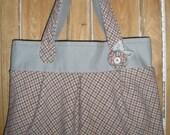 Pink Grey Upcycled Pleated Handbag Wool Canvas Purse