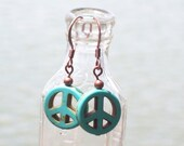 Turquoise Magnesite Peace Sign Earrings -  blue gemstone stone , antique copper , hippie women girl , handmade jewelry