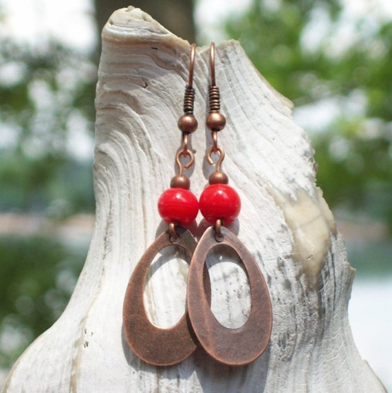 Summer Tomato Earrings - red glass, antique copper hoop, dangle - nickel free - women handmade simple antiqued girl my soul can dance rustic