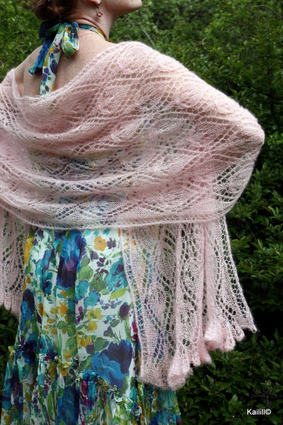 SALE 20% Hand knitted lacy shawl stole wrap with waterlilys luxurious baby pink silk kid mohair