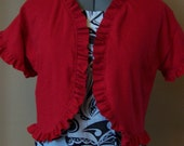 Womens Ruffle Bolero, Cardigan, Jacket, Shrug, Size Medium or Medium Petite, Cherry Fizz Red, Ecofriendly and Upcycled