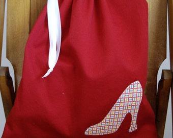Women's SET Vintage Print Applique Travel Shoe Bags Red