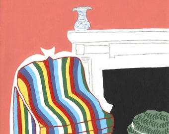 Multicolored Chair by Fireplace with White Fringed Green Stool Giclee Print on Canvas 20 x 16