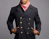 NEW 1980's VINTAGE German Navy Gabardine Wool Military PEACOAT w/liner ( Small to xL)