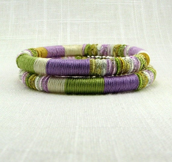 Bracelets - Bangles in Soft Orchid Green Ivory White Gold Fiber- Candied Violet  Duo
