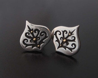 Silver and Gold Earstuds - Spirally trees