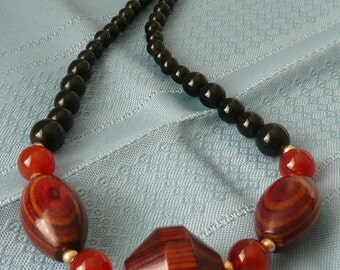 REDUCED - Vintage Onyx Tiger Wood and Carnelian Beaded Necklace