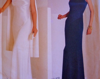One Shoulder Evening Gown Vogue 2042 Bias Cut Princess Seams Pattern Bust 30.5 to 32.5 UNCUT