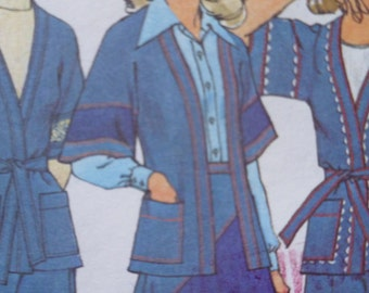 70s Wrap Jacket Pieced Skirt High Waist Pants Pattern SImplicity 7271 Bust 36 UNCUT