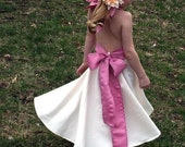 Girls Satin Flower Girl Dress w Sash--Halter Straps---Many Colors to Chose From