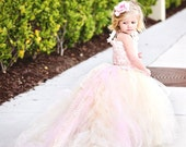 Reserved for Kaley Turner--Lace Flower Girl Dress w Tutu and Detachable Train--Pink Champagne--Perfect for Weddings, Pageants and Portraits