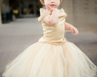 Flower Girl Dress---Tutu and Top---Full of Sparkle---Perfect for Weddings or Portraits