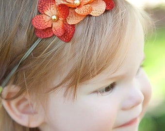 Orange Mini Flower and Pearl Headband---Flower Girl-Pageant-Portraits---Many Colors-Autumn Fire