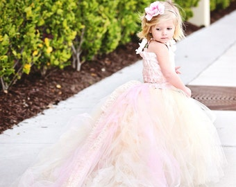 Blush Flower Girl Dress--Pink Lace Dress--Great for Weddings, Pageants and Portraits