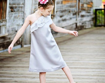 One Shoulder Dress Flower Girl Dress--Satin w a touch of Sparkle--Many Colors