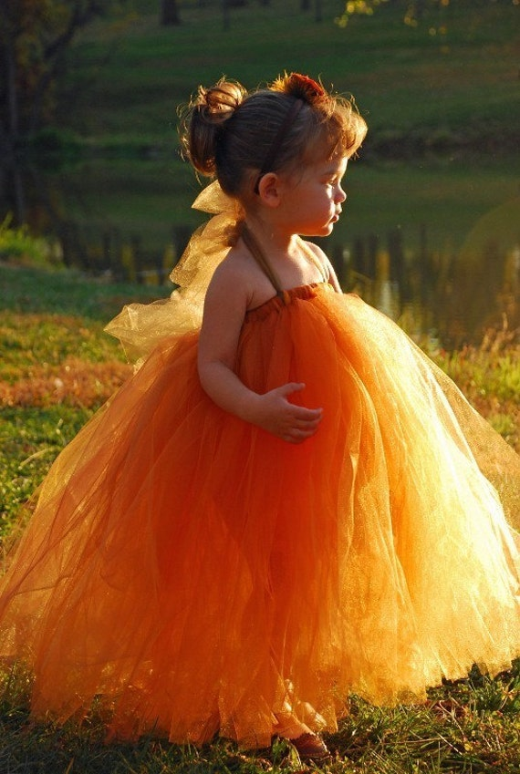Burnt Orange Tutu Dress or Tutu--Flower Girl Dress---Available in Many Color Combinations----Perfect for WEDDINGS