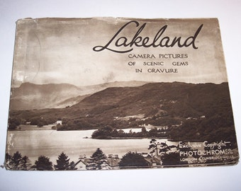1920's Lakeland England Photos in Gravure Sepia Tone Book, Scenic Photography, Antique