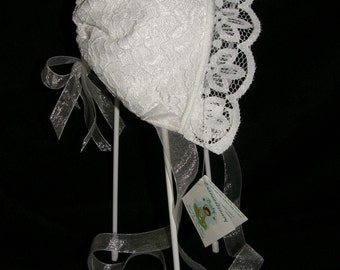 Baby Bonnet White Bridal Lace and Satin Free shipping
