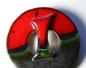 Vintage Handmade Pueblo Brooch 1960s. Large ceramic circular pin with red glaze. Folk. OOAK.