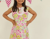 Girls school boutique shift dress in designer fabric size 7,  8, 10, 12 or 14
