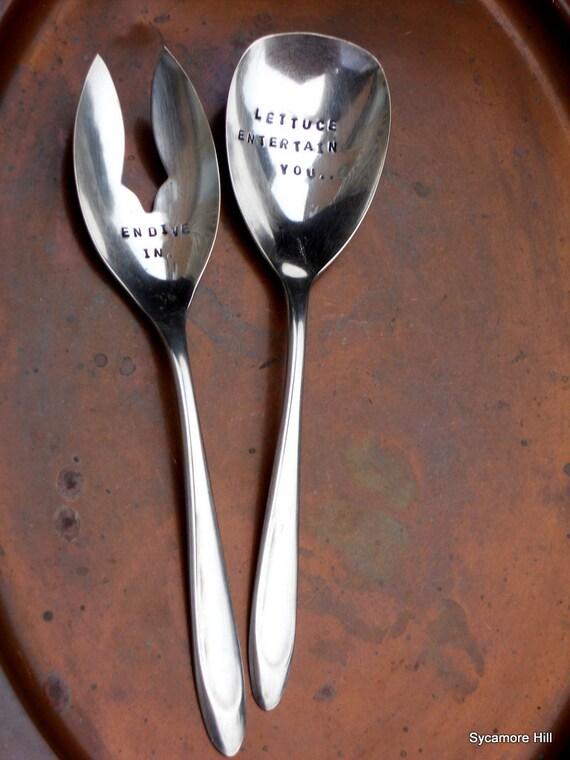 Lettuce Entertain You ... Endive In (TM) - Hand Stamped Vintage Silver Salad Serving Set - Vegan Vegetarian Hostess Gift - ORIGINAL DESIGN