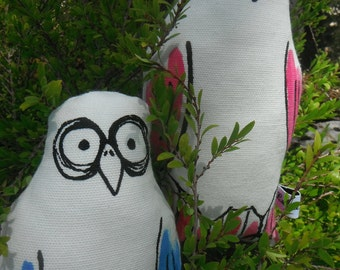 Couple of Galahs (set of 2) screen printed plushie handpainted in Pink and Blue