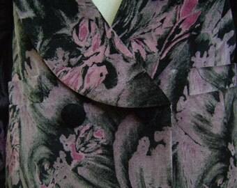 """Vintage Mauve/Grey/Black Floral Jacket by Vino de Casa Bust 36"""" Waist 33"""""""