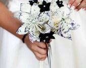 Bridal Bouquet- A Midsummer's Night Dream, 10 inch, 15 paper flowers, handmade, one of a kind, origami, destination wedding