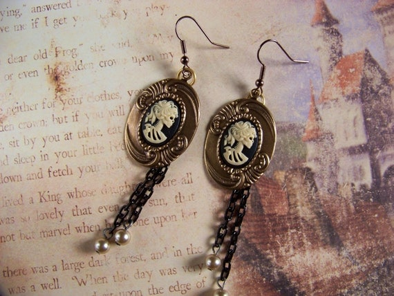Black and Gold Lady Death Cameo Earrings