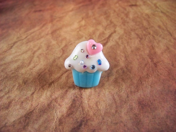 Kawaii Lolita Blue Cupcake Ring with Gems and Bows
