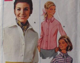 SALE - Women's Vintage Sewing Pattern - Shapemaker Shirt Pattern, Button Front Shirt - Butterick 4947 - Size 12, Bust 34