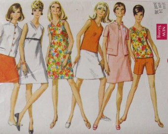 SALE - Women's 1960's Sewing Pattern - Dress or Overblouse, Jacket, Skirt and Shorts - Simplicity 7649 - Sizes 14, Bust 36