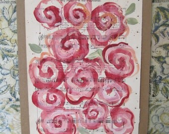 SALE. Bed of Roses... recycled book art original painting on 1930s sheet music book page... My Heart is in the Highlands