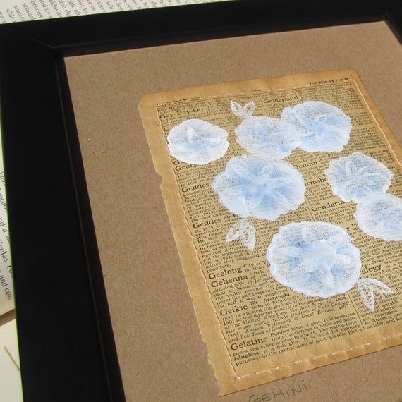 SALE. Gemini... recycled book art, Periwinkle Blossoms painted on Antique 1930s Encyclopedia book page Stitched to cardstock