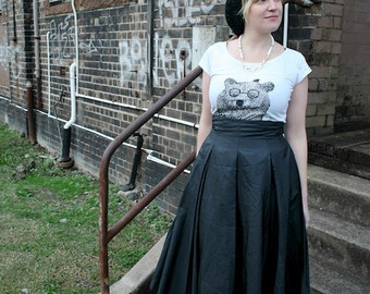 XS vintage midi / maxi 90s LISA HO pleat black formal party skirt