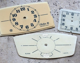 Vintage Soviet Alarm Clock Faces from 1980's -- plastic