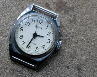 Small vintage Soviet ladies wristwatch ZARIA -- ZARJA