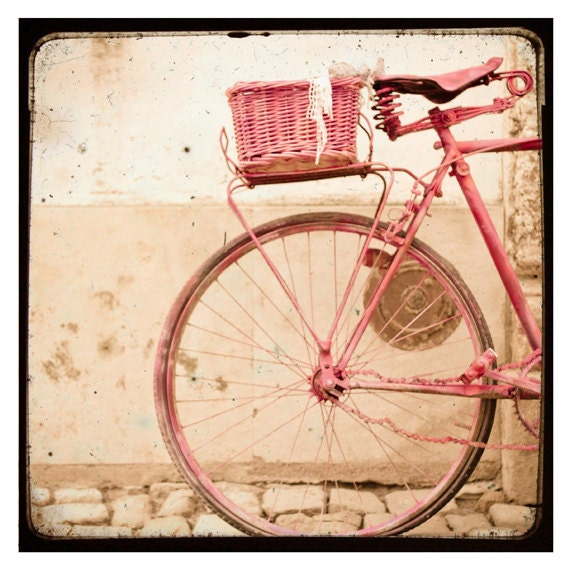 Items similar to pink bike vintage style bicycle pink - Vintage inspired wall art ...