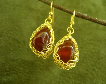 Red Agate Crocheted Gold Wire Earrings