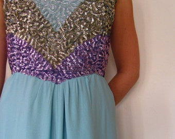 The 1960's Emma Domb Sparkle and Shine Sequin Evening Gown