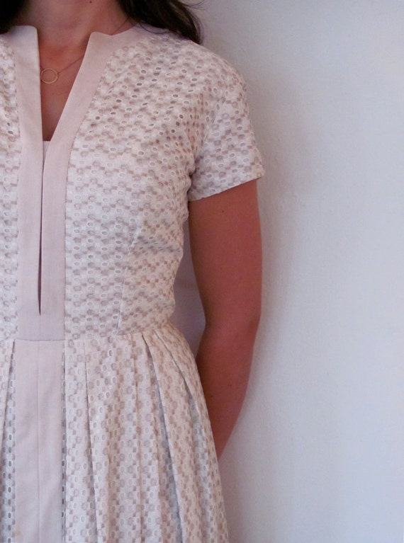 The 1950's White and Tan Eyelet Day Dress