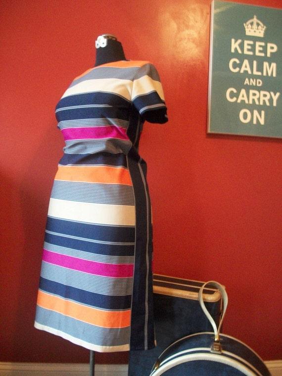 Dress STRIPED navy orange  MOD A line L large 10 12