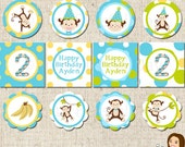 PRINTABLE Boy Monkey Party Circles (Personalized) #554