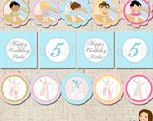 PRINTABLE Personalized Ballerina Party Circles (Character of your choice) #503
