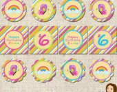 PRINTABLE Girl Rainbow Party Circles (Personalized) #535