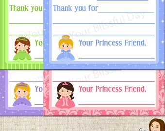 PRINTABLE Princess Fill-in-the-Blank Thank You Cards (Character and Background of your choice) #573