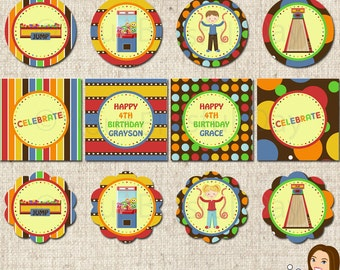PRINTABLE Personalized Arcade Fun Party Circles (Boy or Girl) #502