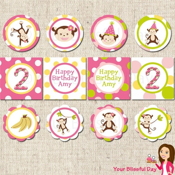 PRINTABLE Girl Monkey Party Circles (Personalized) #554