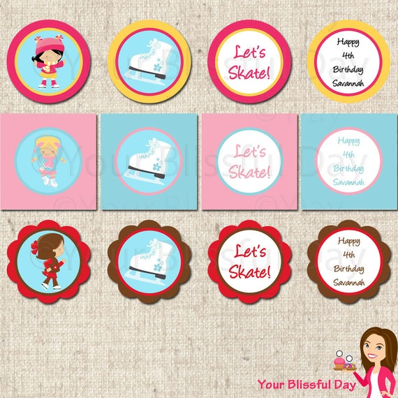 PRINTABLE Girl Ice Skating Party Circles (Personalized) #541